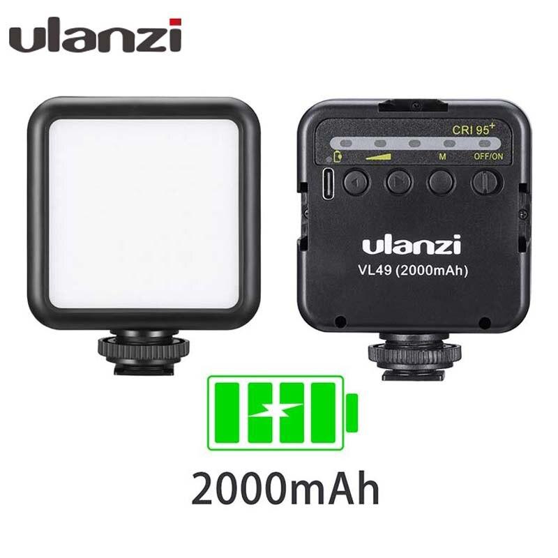 Ulanzi VL49 6W Mini LED Video Licht 2000mAh Eingebaute Batterie 5500K Fotografische Beleuchtung Triple Kalten Schuh 1/4 schraube für Vlogging