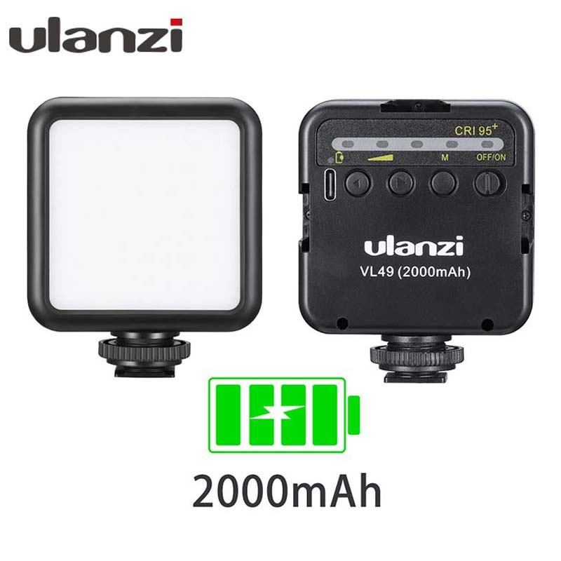Ulanzi VL49 6W Mini LED Video Light 2000mAh Built-in Battery 5500K Photographic Lighting Triple Cold Shoe 1/4 Screw For Vlogging