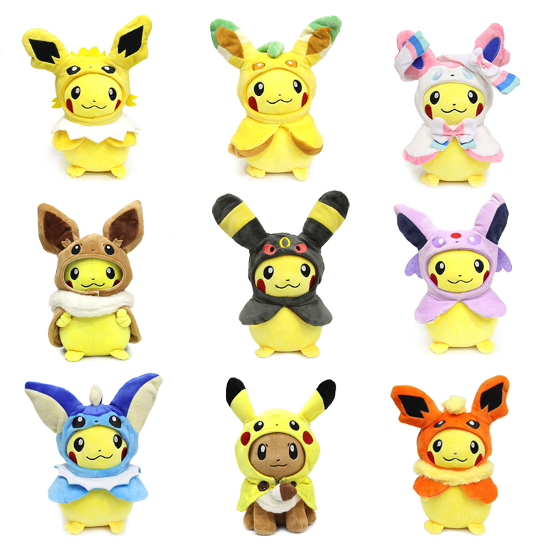 takara-tomy-font-b-pokemon-b-font-cloak-pikachu-eevee-plush-toy-sylveon-leafeon-espeon-vaporeon-stuffed-lovely-doll-hobby-collectible-gifts
