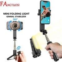 FANGTUOSI-estabilizador de cardán de mano inalámbrico por Bluetooth, palo Selfie para teléfono móvil, trípode con obturador de luz de relleno para IOS y Android