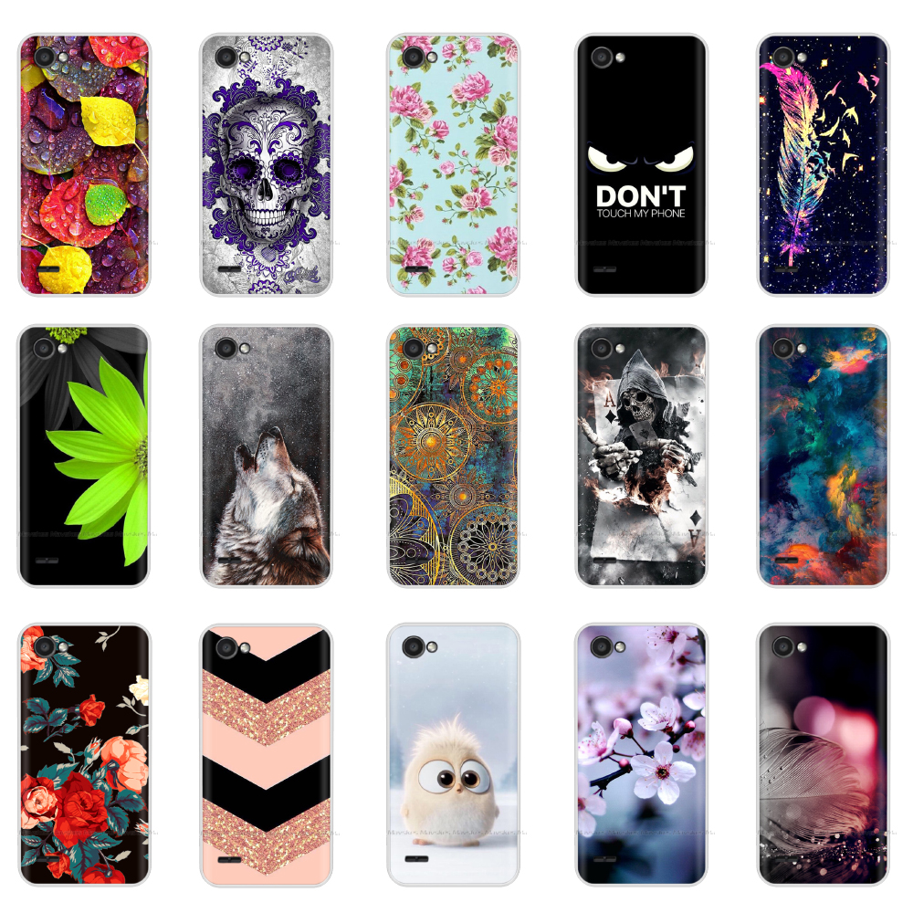 5.5Inch Silicon Case For LG Q6 Case Soft Cover On For LG Q6 Q 6 Back Bumper Etui Coque Tpu Full Protection Shockproof Flower