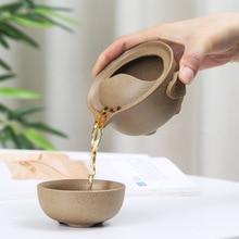 Portable Travel Teaware Tea Cup Set Ceramic Kung Fu Tea Cups Vintage Gaiwan Drinkware China Oolong Black Tea Home Office Hiking цена