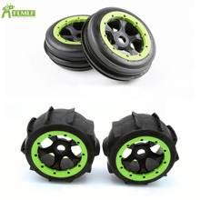 Front & Rear Sand Paddles Desert Wheels Tires Tyres Assembly Set with Wheel Hub Fit for 1/5 HPI ROVA
