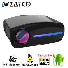 WZATCO-Proyector LED C2 4K, Full HD, 1080P, Android 10,0, Wifi, cine en casa inteligente, Proyector portátil de películas en 3D, gran oferta
