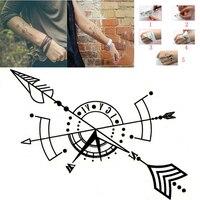 Kompas strzałka tatuaż tymczasowe Body Arm Art kostki tatuaż naklejki wodoodporne tatuaż wysokiej jakości czarne męskie naklejki damskie