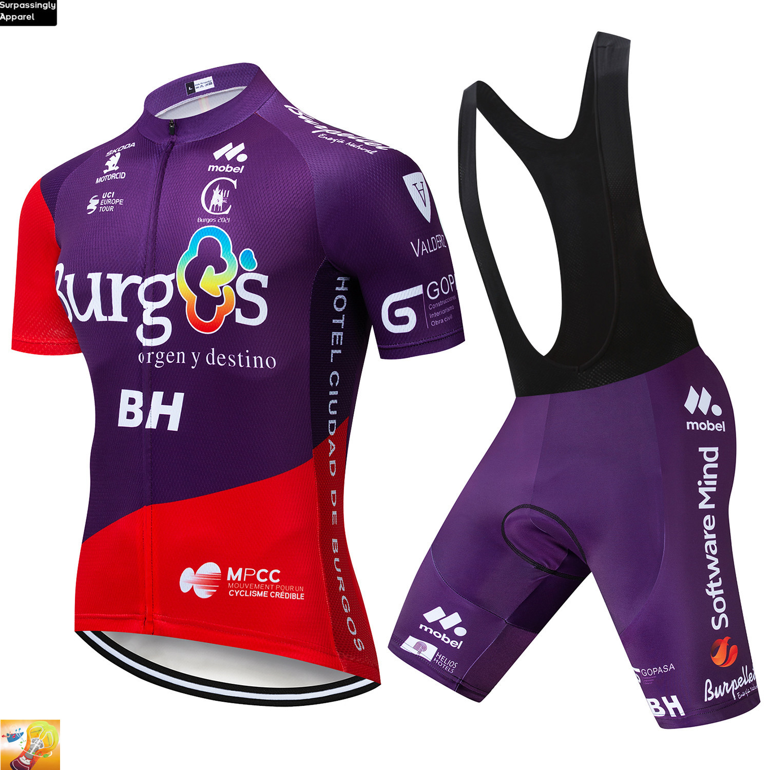 2019 Burg Cycling Team Jersey 16D <font><b>Bike</b></font> Shorts Set BH Purple Ropa Ciclismo Mens Summer Quick Dry Pro Bicycling Maillot Pants <font><b>Wear</b></font> image