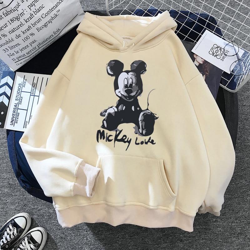 Disney 2021cartoon print sweatshirt women Funny hip hop Mickey Mouse print autumn and winter fashion Harajuku style hoodie women 8