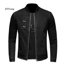 Retro European Style Stand Collar Bomber Pilot Black Denim Jacket Men Jeans Coats Motorcycle Casual Outwear Clothing Overcoat