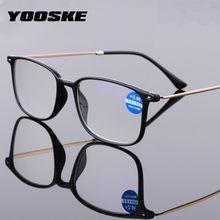 YOOSKE-gafas de lectura con luz azul para hombre y mujer, anteojos de lectura con dioptría, ultralivianas, Retro, TR90, para presbicia + 1,0, 1,5, 2,0, 2,5, 3,0