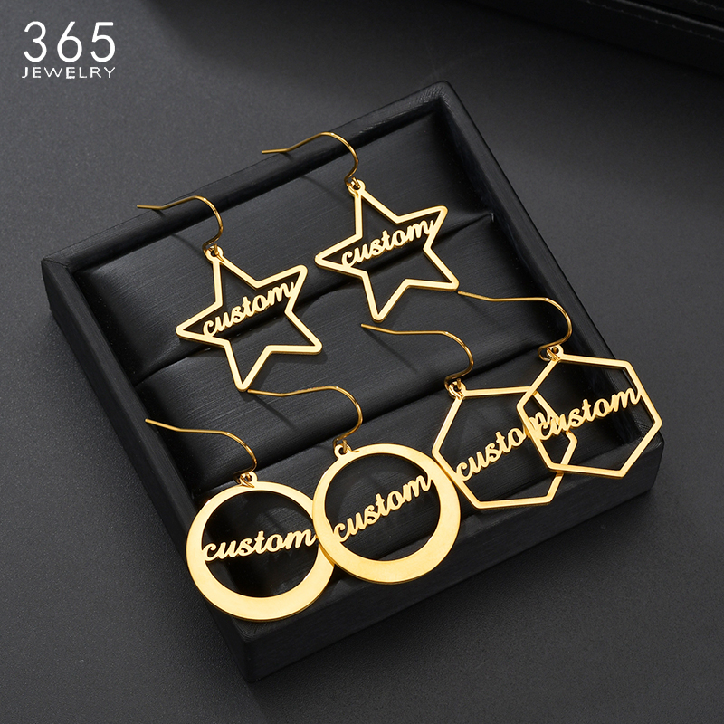 Unique Personalized Hook Name Earrings Custom Hollow Star Round Dangle Name Earrings For Women Girl Party Gifts
