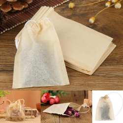 10/100PCS/Lot Tea Bag Filter Paper Bags Empty Drawstring Teabags For Herb Tea 4Size