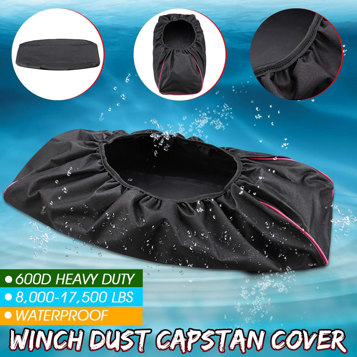 Waterproof Winch Cover,Black Waterproof Anti-dust Soft Winch Cover 8,000-17,500 lbs Capacity Trailer SUVs