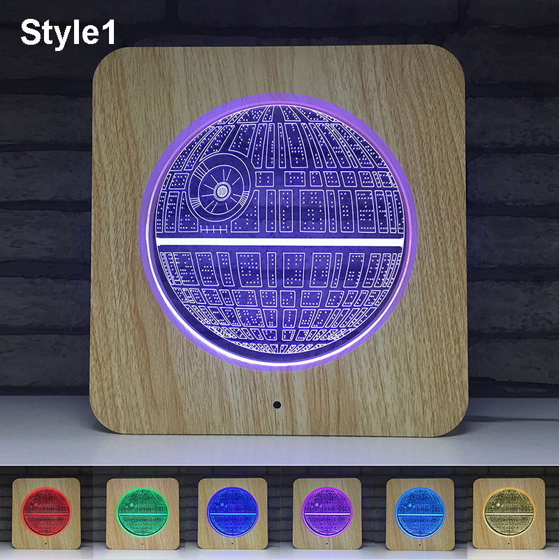 Battery USB 3D Projector Novetly Light Earth American Football 7 Colors Change Lamp Touch Remote Control Kids Home Desktop Decor