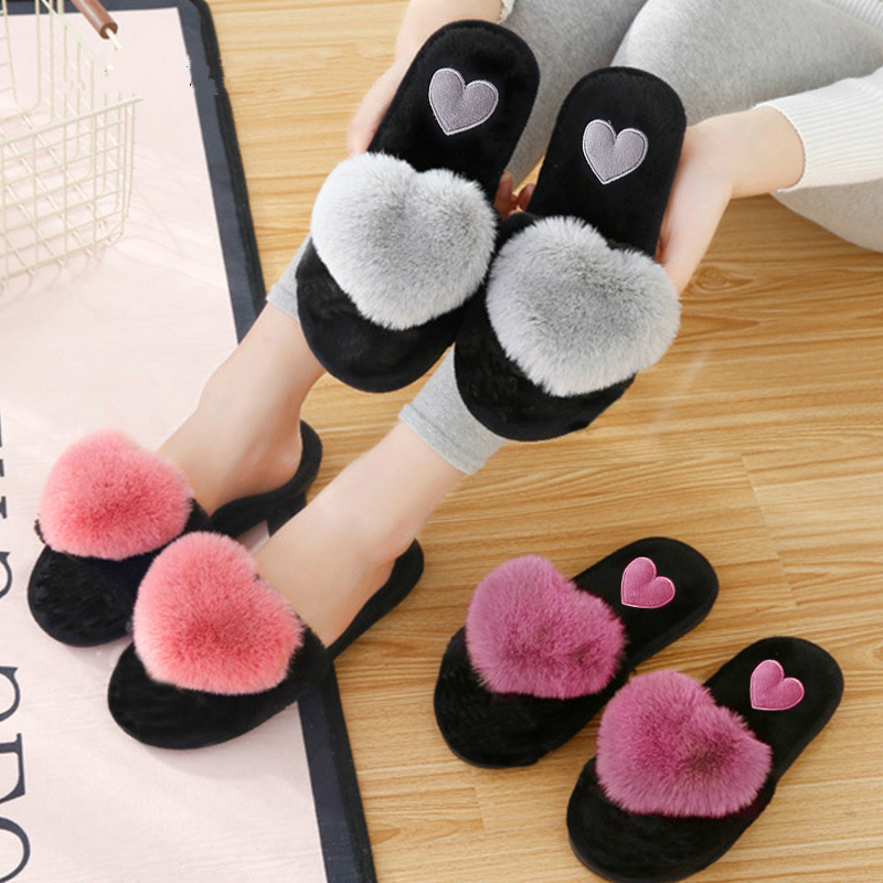 Cute Women Slippers Love Heart Cotton Slippers Winter Fur Slides Ladies Home Furry Slippers Warm Indoor House Shoes