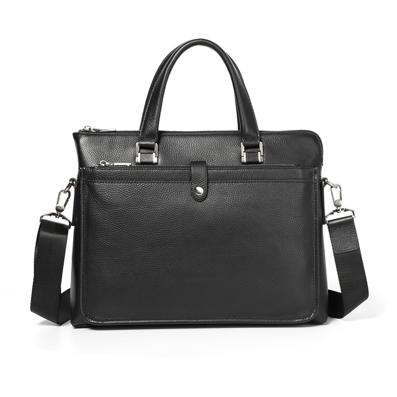 Nesitu High Quality New A4 Black 100% Genuine Leather Office Men Briefcase Portfolio Business Shoulder Messenger Bags M233705