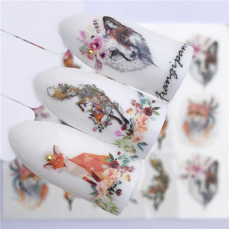 Yzwle Nail Sticker Art Decoratie Slider Vos Wolf Dier Zelfklevende Ontwerp Water Decal Manicure Lak Accessoires Polish Folie
