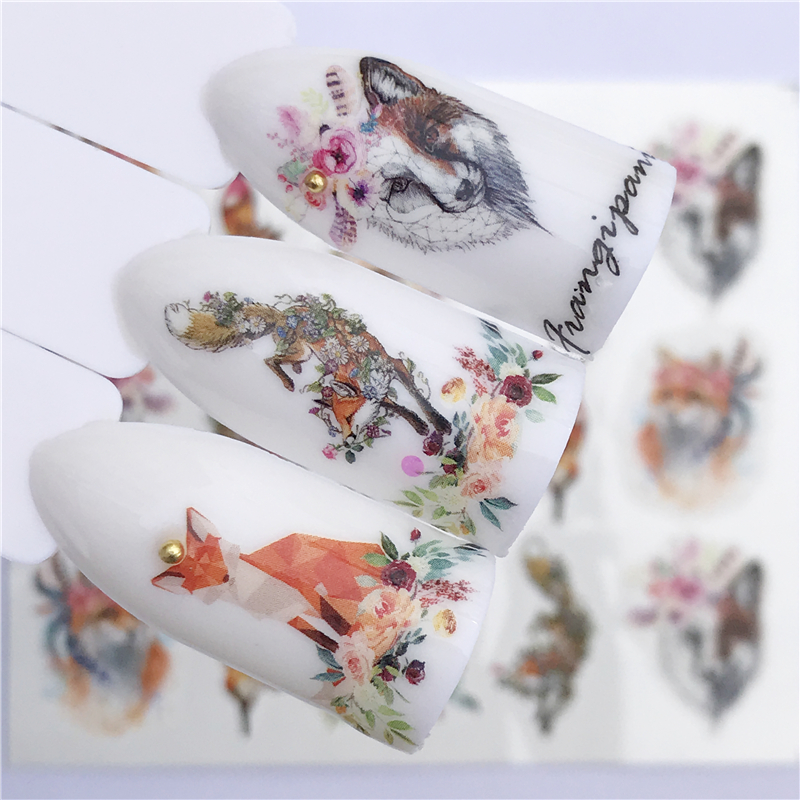 YZWLE Nail sticker Art Decoration Slider Fox Wolf Animal Adhesive Design Water Decal Manicure Lacquer Accessoires Polish Foil(China)