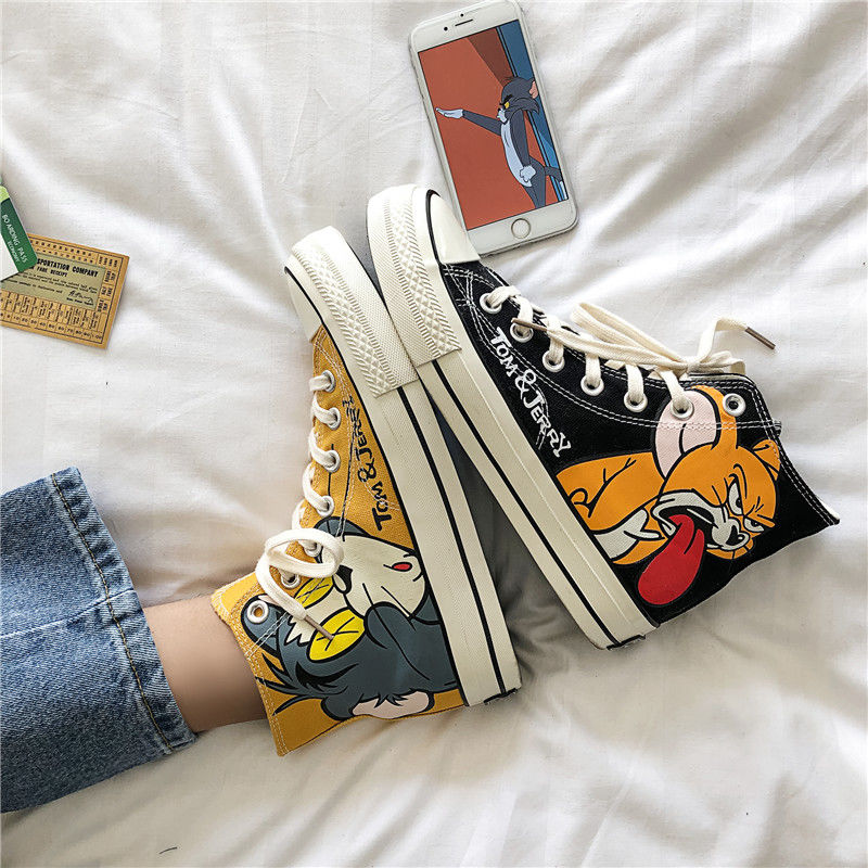 New Cartoon HIP-HOP Casual Men Vulcanized Shoes Sneakers Men's Fashion Casual Lace-Up Colorful Canvas Sport Graffiti Board Shoes