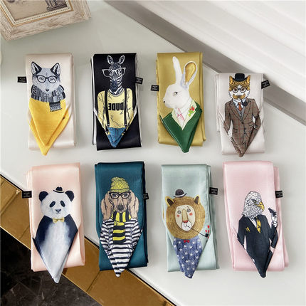 New Style Decoration Women's Printed Animal Style Scarf Business Europe And America Small Neckerchief Silk Scarves Skinny Scarf
