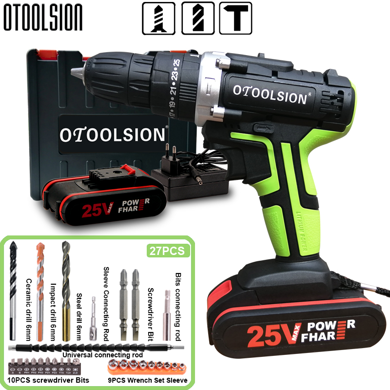 25V 48N.m Impact Battery Drill Cordless Screwdriver Power Tools Impact Electric Screwdriver Electric Impact Drills+27 Pcs Parts