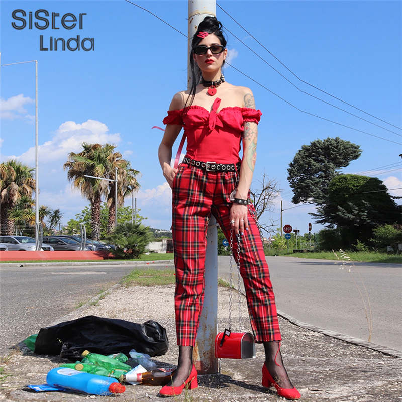 Sisterlinda Women Autumn Red Plaid Casual High Waist Zipper Pantalon New Fashion Straight Pants Trousers Women's Trousers Mujer