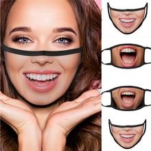 Маска для лица с принтом улыбки, удобная ветрозащитная моющаяся многоразовая маска против пыли для улицы унисекс, маска для рта для взрослы...