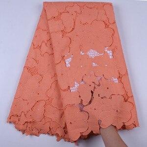 Последние нигерийские водорастворимые кружевные ткани 5 ярдов африканские гипюровые шнурки с камнями оранжевые кружевные вечерние шнурки F1696