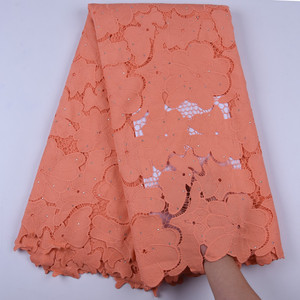 Image 4 - Latest Nigerian Water Soluble Lace Fabric 5 Yard African Guipure Cord Lace Fabric With Stones Orange Cord Laces For Party F1696