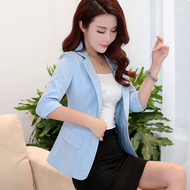 Women Blazers And Jackets Spring Autumn Plaid Blazer Women Slim Office Lady Suit Jacket Blazer Femme Plus Size 3xl YQ371
