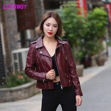 2019 Europe and the United States new women's locomotive short slim leather jacket Turn-down Collar  Regular  Full