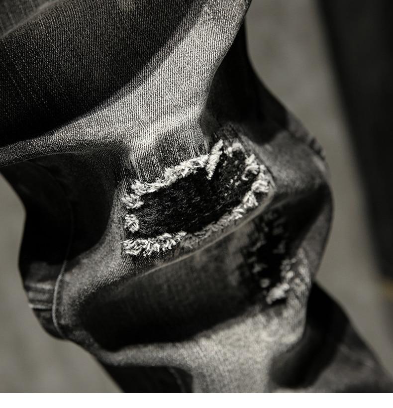 Black Jeans Men Ripped Faded Slim Fit Elastic Pleated Torn Men's Motorcycle Pants Biker Jeans
