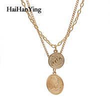 Vintage Coin Pendant Geometric Women's Necklace Bohemian Plating Gold Layered Necklace Party Gift Luxury Charm Jewelry green pendant double layered necklace