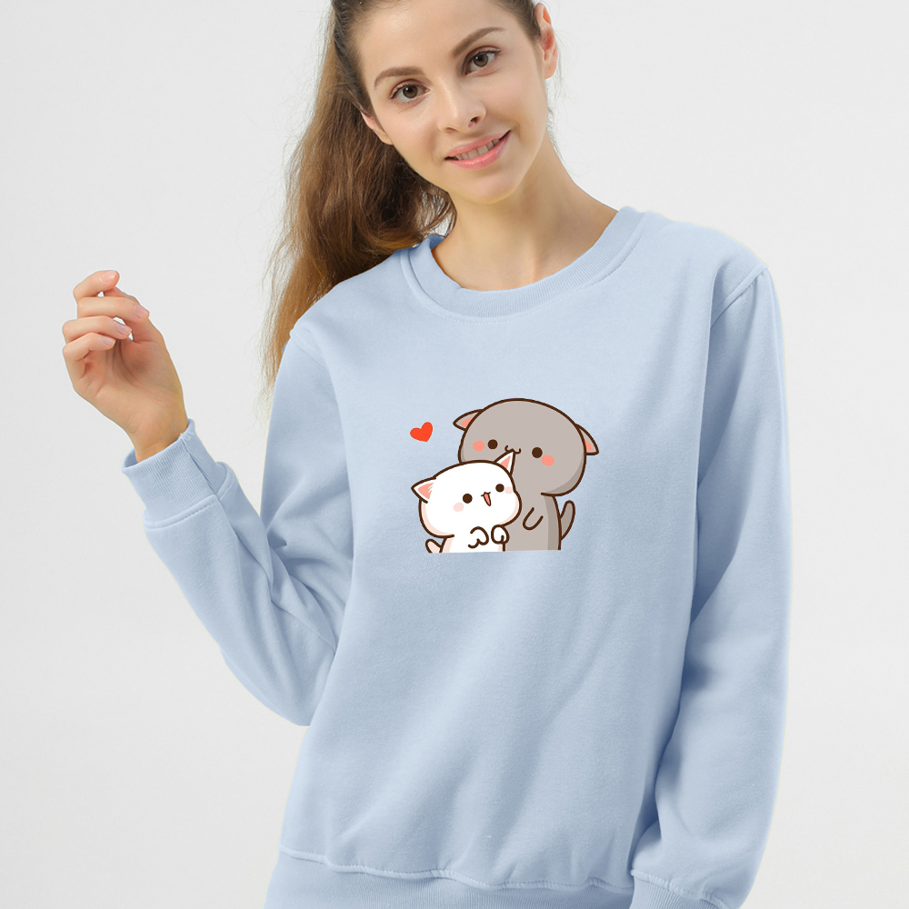 Women Hoodie Kawaii Couple Sweatshirt Cotton Long-sleeved Harajuku Hoodies Pocket Pattern Print Hoody Plus Size Korean Clothes 14