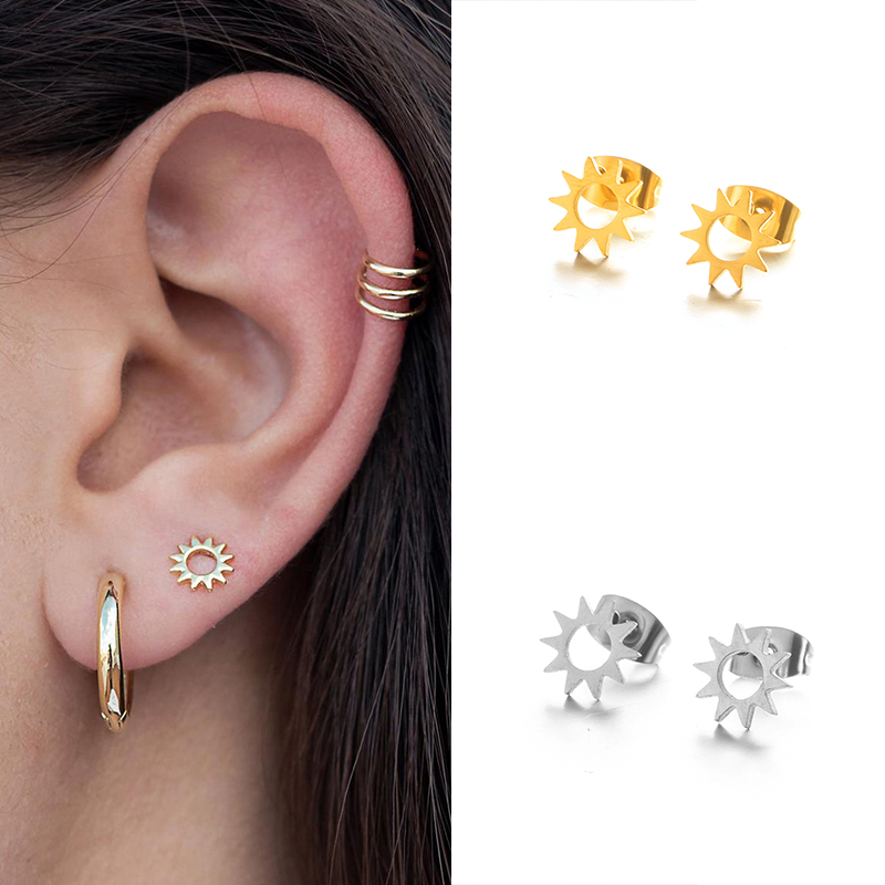 925 Silver Sun stud earrings, Small earrings, Dainty stud earrings, Trendy Minimalist Mini earrings, Tiny stud for women A30