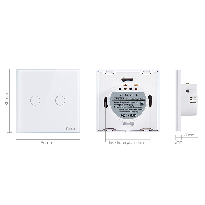 TUCLIX EU UK Standard Touch Switch 2 Gang 1 Way Wall Light Touch Switch Crystal Glass Switch Panel lace in Switches from Lights Lighting
