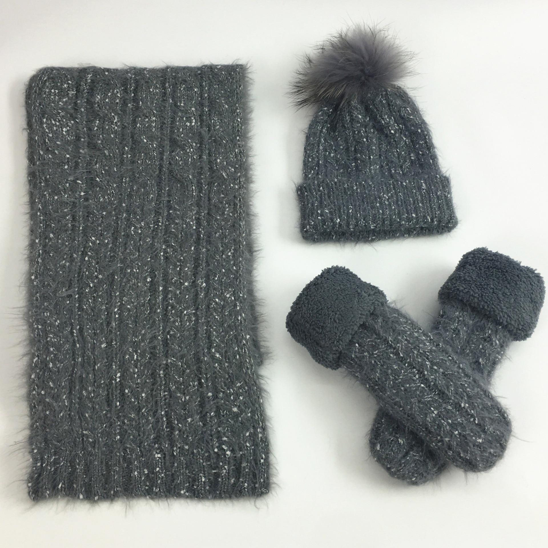 Mooirue Women Winter Wool Hairball Velvet Gloves Scarf Hat Sets Vintage Casual Streetwear Korean Style Thick Warm Suit Scarf Hat