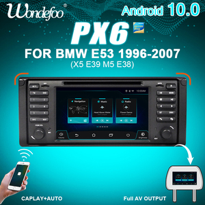 Image 1 - WONDEFOO PX6 1 DIN Android 10 car radio For BMW X5 E53 E39 car audio navigation multimedia dvd radio tape recorder no 2din 2 DIN