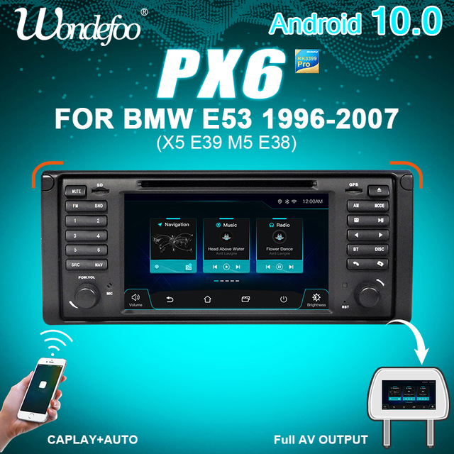 WONDEFOO PX6 1 DIN Android 10 car radio For BMW X5 E53 E39 car audio navigation multimedia dvd radio tape recorder no 2din 2 DIN