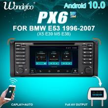 WONDEFOO radio multimedia PX6 con GPS para coche, radio con navegador, dvd, 2 DIN, Android 10, para BMW X5, E53, E39