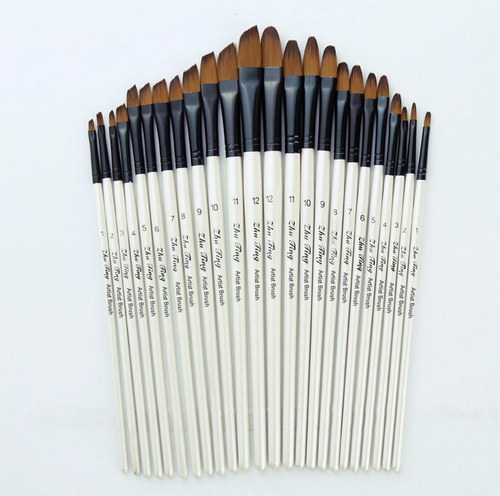 12 Artist Watercolor Painting Brushes Brush Oil Acrylic Flat&Tip Paint Kit Professional Art Nylon Hair Painting Set Art Supplies
