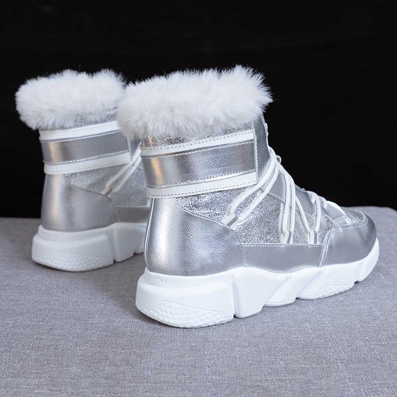Fujin/женские кроссовки; Сезон Зима; модные, дышащие, длинные, плюшевые, сохраняющие тепло, с круглым носком, на толстой подошве, с кружевом; женская обувь для отдыха на платформе