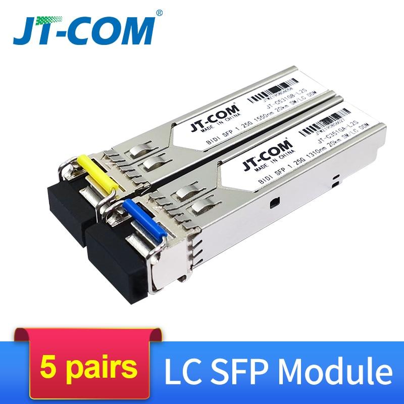 5 Pair 20KM Gigabit SM BIDI SFP Module LC Connector Optical Transceiver Single Mode Compatible With Cisco Fibra Ethernet Switch