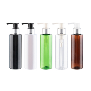 Empty Refillbale Lotion Pump Bottles With Silver Aluminum Collar 150ml 5oz Capacity Plastic Container Packaging Shampoo Bottles