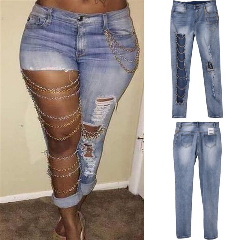 Sexy Women Destroyed Jeans Holes Chain Patchwork Skinny Bodycon Jeans Pants Ripped Boyfriend Pants Denim Vintage Straight Jeans