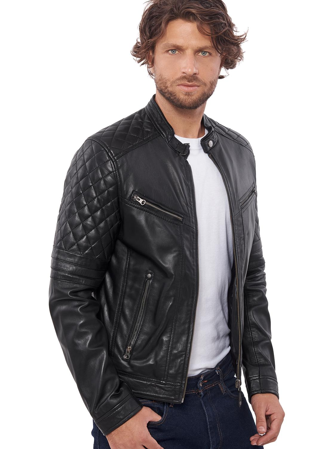 MEN/'S GENUINE COWHIDE PREMIUM LEATHER MOTORCYCLE BIKER TOP LEATHER JACKET BLACK