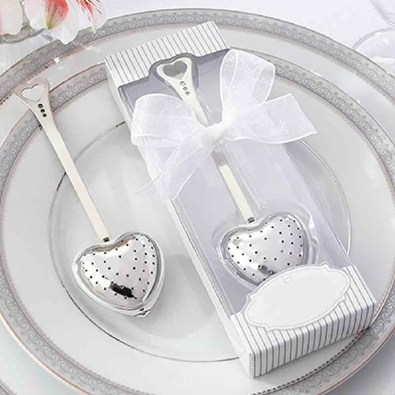 Hotคุณภาพสูงออกแบบช้อนชาInfuserกรองอาหารสแตนเลสงานแต่งงานของที่ระลึกเจ้าสาวโปรดปรานของขวัญชุดช้อน