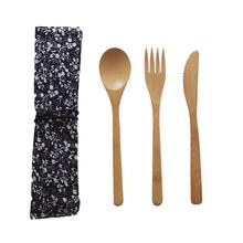 3Pcs/Set Tableware Cutlery Travel Dinnerware Utensil Set With Bag Reusable Portable Straws Bamboo Dinner