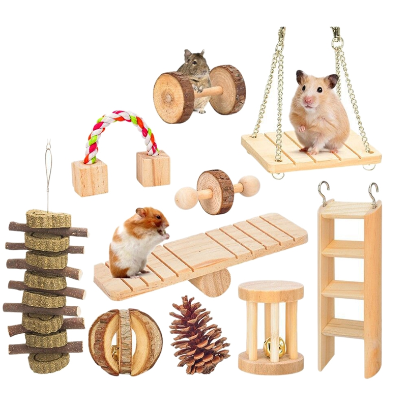 10 Pcs Set Hamster Chew Toys Natural Wooden Gerbils Rats Chinchillas Toys Accessories Dumbbells Exercise Bell Roller Teeth Care 7
