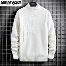 Sweater Men Jumper Korean-Style Plain High-Neck Winter Solid Turtleneck White Singleroad