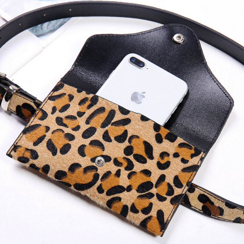 Women Leopard Waist Fanny Pack Holiday Money Belt Wallet Travel Bag Phone Pouch Hip Bum Bag Small Purse Mini Wallet 18x12cm